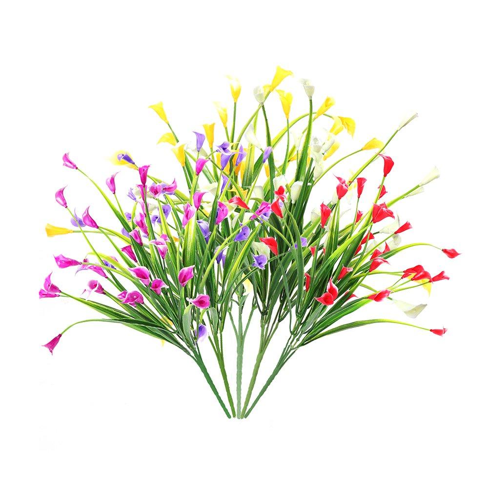 blanc, jaune, violet, rose rouge, rouge 5 pi/èces Faux plantes en plastique de verdure en plein air pour la d/écoration de f/ête de mariage bricolage maison jardin Calla Lily Fleurs artificielles