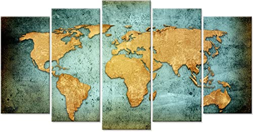 Large Vintage World Map Poster Printed On Canvas,Blue Sea Yellow Map Printing Mural Art For Wall ,Framed World Map Canvas Print