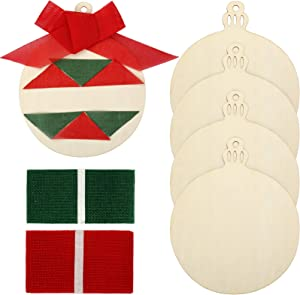 4 pcs 10 Inch Christmas Unfinished Wooden Bells Cutout Christmas Blank Wooden Ornaments with 2pcs Burlap Ribbon for Christmas Home DIY Party Decor