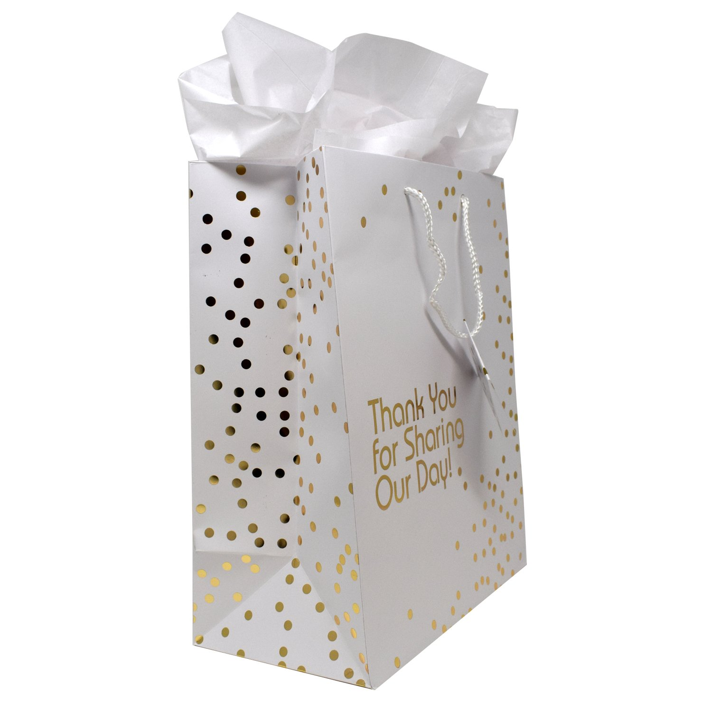 Amazon.com: 12 Gift Boutique Large Wedding Gift Bags; Metallic Gold ...