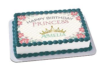 EdibleInkArt Happy Birthday Princess Edible Cake Topper Personalized 1 4 Sheet Decoration Custom