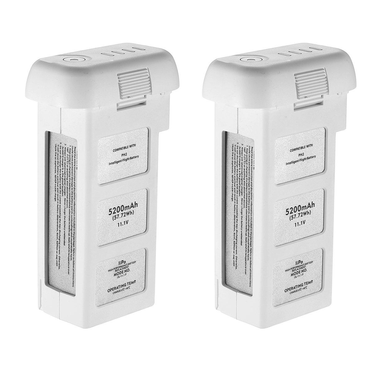 Powerextra 2-Pack 11.1V 5200 mAh LiPo Intelligent Battery Repleacement for DJI Phantom 2, Phantom 2 Vision and Phantom 2 Vision Plus - Upgraded