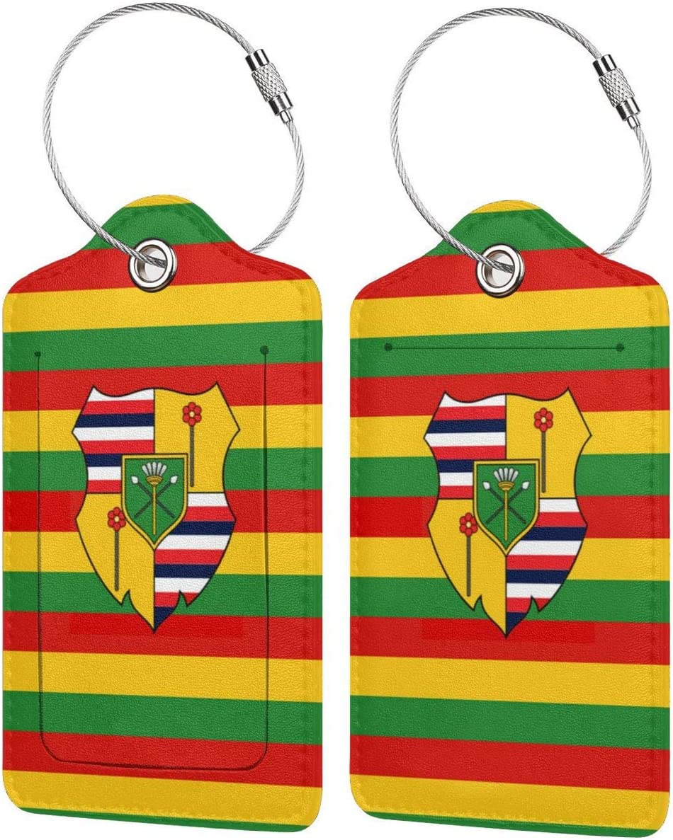 IEHFE MCNXB Flag of The Kingdom of Hawaii Leather Luggage Tags Personalized Luggage Name Tags for Travelers Leatherette Suitcase Tag Travel Bag Label