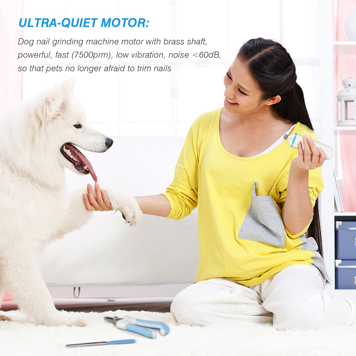 kissin Dog Nail Grinder Quiet Portable USB Rechargeable Dog Nail Clippers Apply To Large Small Dogs and Cats Dog Nail Trimmer