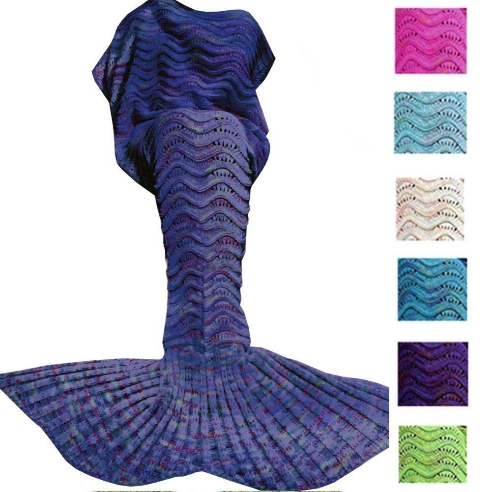 QUALITEX Mermaid Blanket Knitted Mermaid Sleeping Bag for Bed Sofa Couch, Soft All Seasons Crochet Mermaid Tail Blanket Mermaid Throw Blanket for Adult