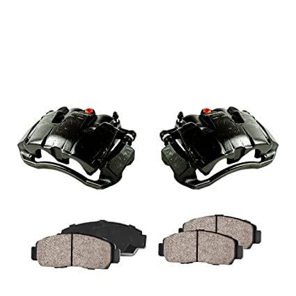 2 FRONT Performance Loaded Powder Coated Black Caliper Assembly Quiet Low Dust Ceramic Brake Pads CCK01083
