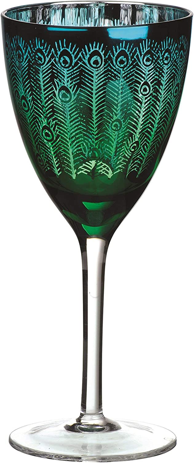 Artland Peacock Wine Glass, Set Of 4, 14 oz,
