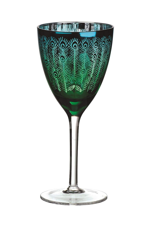 Green Peacock 4-Piece Wine Glass Set - ChristmasTablescapeDecor.com