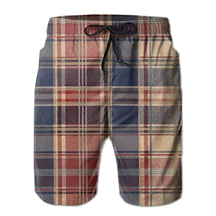 Blue Red Yellow Plaid Swim Shorts Mens Swim Trunks Beach Shorts Board Shorts