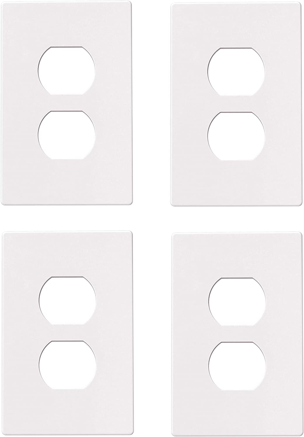 Eaton Pjs8w Polycarbonate 1 Gang Screwless Duplex Receptacle Mid Size Wall Plate White Sold As 4 Pack