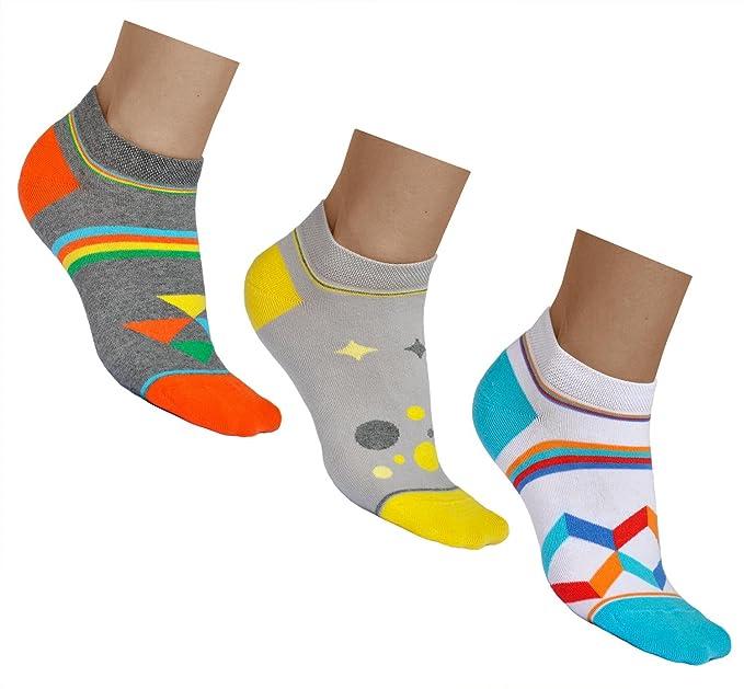 vitsocks Calcetines Cortos Mujer (3 PARES) Motivos Coloridos Diseños Originales ALGODÓN, Sneaker: Amazon.es: Ropa y accesorios