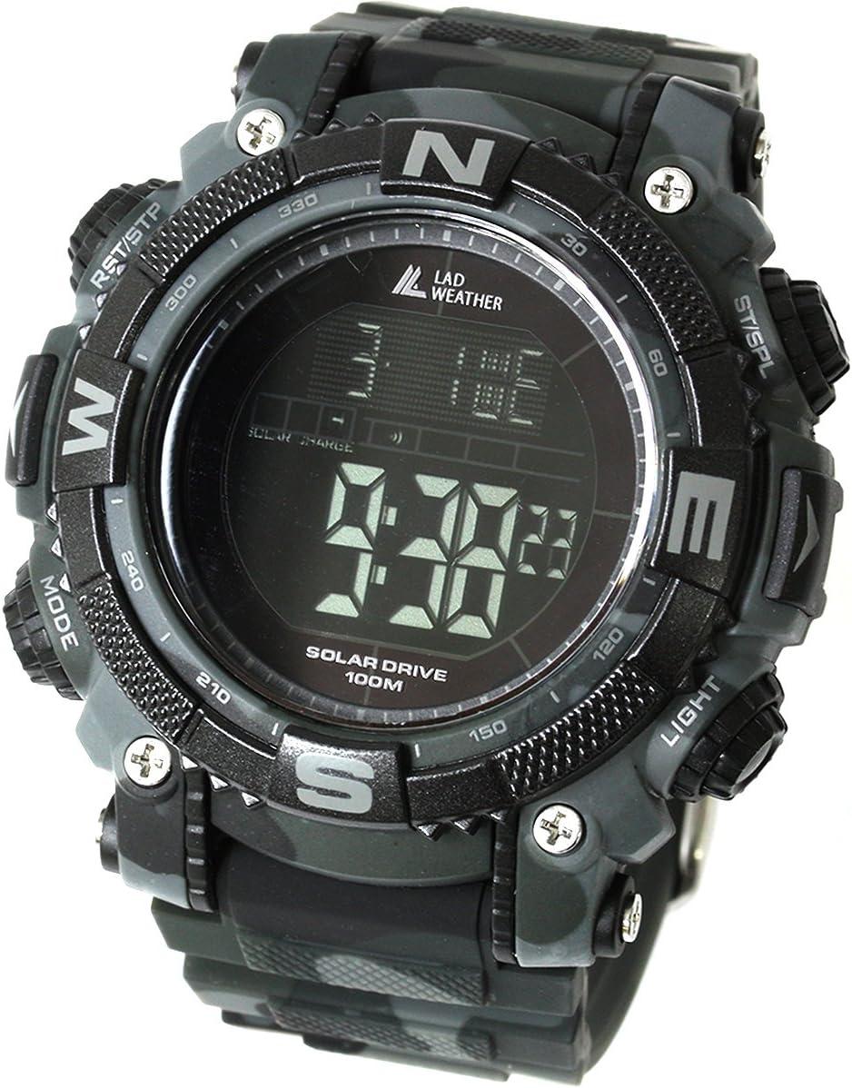 [Lad Weather] Potente reloj digital solar para hombre de estilo militar deportivo con cronómetro