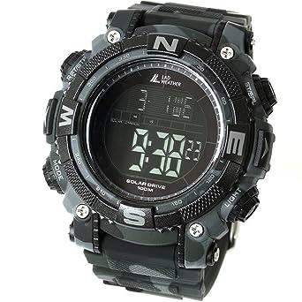 LAD WEATHER Militar Reloj Potente Batería Solar Cronógrafo Deportes al Aire Libre (cmbk)