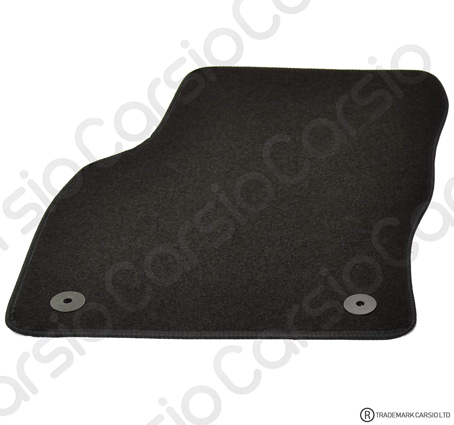 Carsio Tailored Black Carpet Car Mats for Skoda Octavia 2013 Onwards 4 Piece Set with 4 Clips