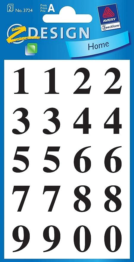 wei/ß AVERY Zweckform Z-Design Zahlen-Sticker