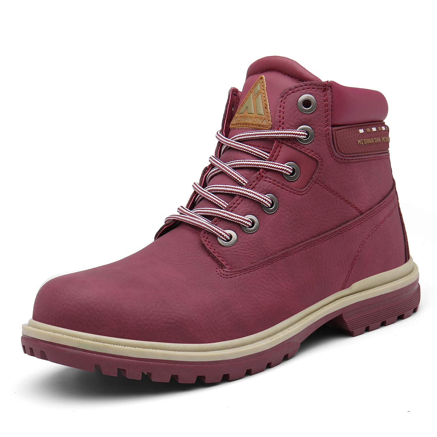 Mishansha Mens Womens Winter Anti-Slip Leather Warm Snow Boots Water Resistant Shoes Fur Lined