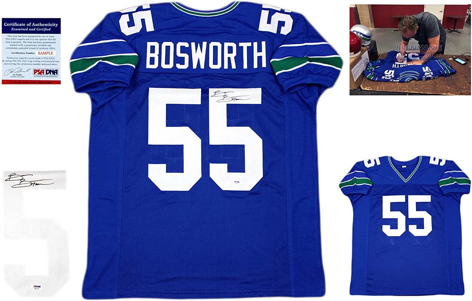 Brian Bosworth Signed Custom Jersey - PSA/DNA - Pro Style Autographed - Royal