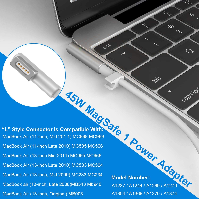 Macbook air Chargeur Bloc d'Alimentation, bloc d'alimentation 45 W Magsafe 1 L – Pointe ponkor 2 Port USB AC bloc d'alimentation pour Apple Mac 11