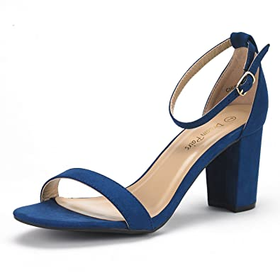 744dc6e06fdb66 DREAM PAIRS Women s Chunk Navy Suede Low Heel Pump Sandals - 5 ...