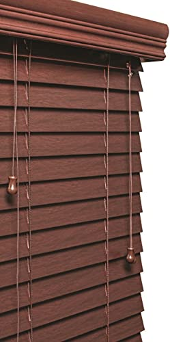 Lotus Windoware 2 Mahogany Faux Wood Blind, 58 x 48