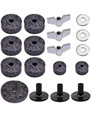 18 Pieces Cymbal Replacement Accessories Cymbal Felts Hi-Hat Clutch Felt Hi Hat Cup Felt Cymbal Sleeves with Base Wing Nuts Cymbal Washer Replacement for Drum Set