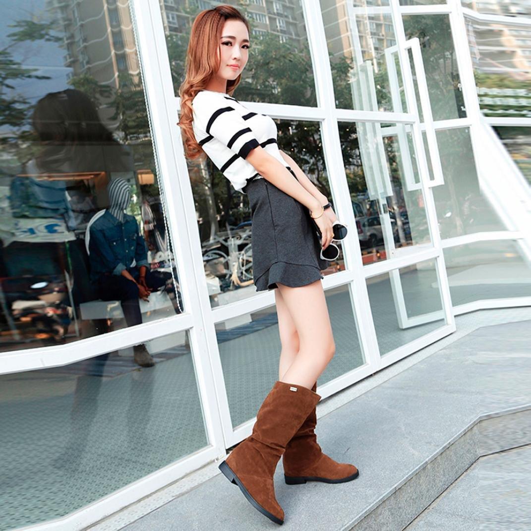 dhiver dautomne Simple Confortable Chaussure Plat QinMM Femmes Bottes Mode Daim Douce Dame