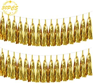 30 pcs Shiny Gold Paper Tassels Fringe Banner, Gold Foil Tassel Garland, DIY Kit Party Metallic Foil Hanging Garland, Table Decor, Party Wall Backdrop Decorations