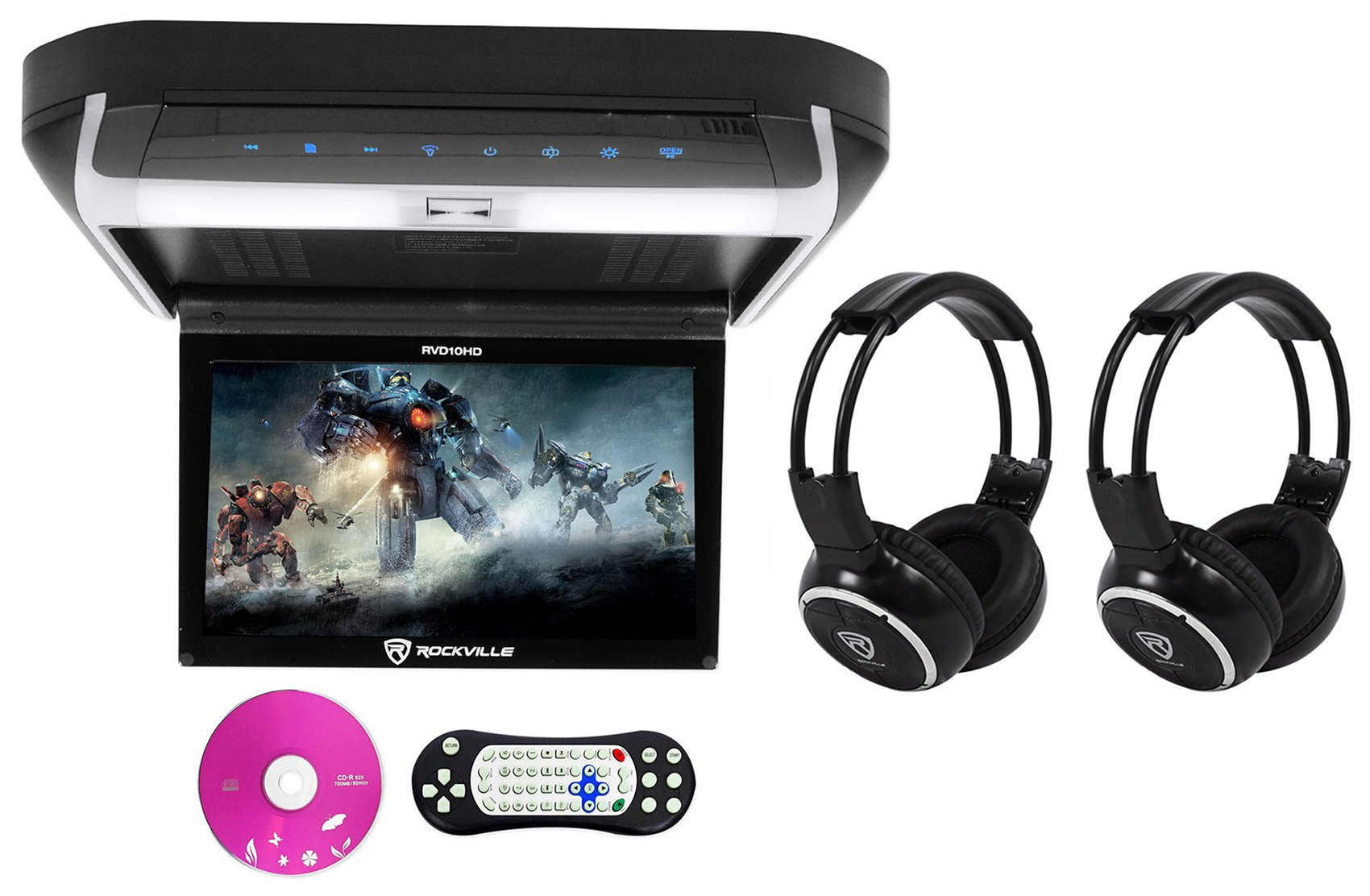 Package: Rockville RVD10HD-BK 10.1'' Black Flip Down Monitor With DVD Player, HDMI, USB/SD, Games, and LED Mood Light + (2) Rockville RFH3 Dual Channel Wireless Ir Headphones