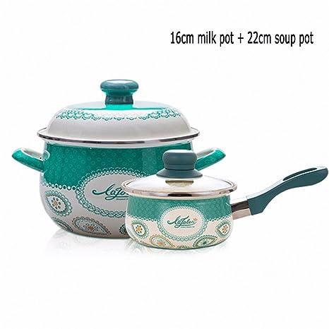 XiangYan Espesa pot esmalte de sopa y pequeña olla de leche 2 piezas, adecuado para