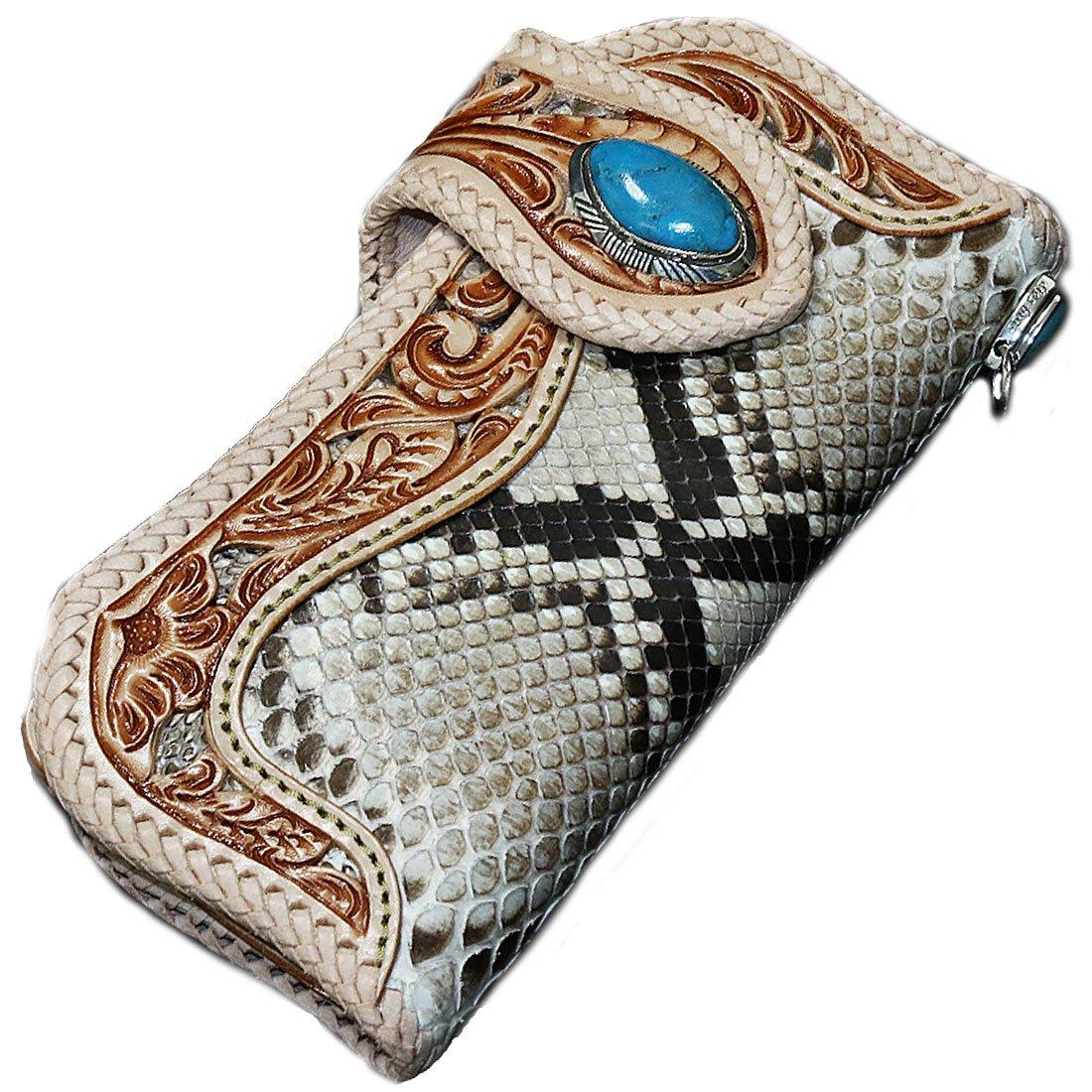 バイカーズウォレット レザーウォレット メンズ 長財布 本革 レザー 透かし彫り カービング パイソン 蛇 へび メンズ長財布 お財布 B01M7UVKDX ジョイントパーツ:J11 コンチョ:NE