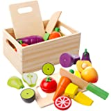 mysunny trä kök barn leksak, skära frukt och grönsaker magnetleksaker, matlagning livsmedel simulering utbildning och…