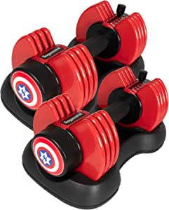 SogaWave (Set of 2) Weights Dumbbells, 5-25Ibs Adjustable Dial Dumbbells with Weight Plate for Exercise, Home Gym Equipment for Man and Women