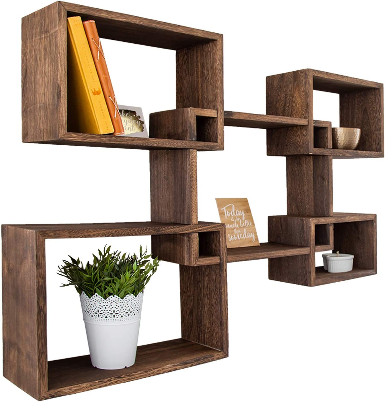 Rustic Wall Mounted Square Shaped Floating Shelves – Set of 5 Square Shelves for Bathroom, Bedroom, Living Room & More - Screws and Anchors Included – Wall Décor Display for Home - Torched Brown
