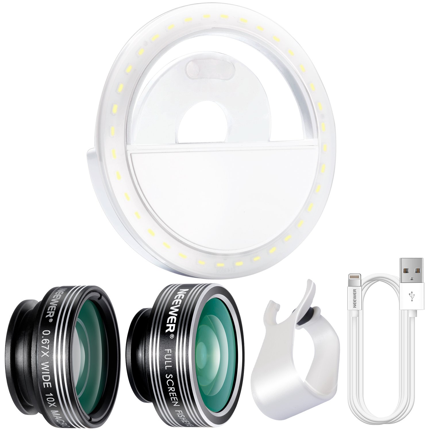 Neewer Cellphone Photography Clip-on Lens and Light Kit: 3-in-1 Lens Kit, LED Selfie Ring Light with 3 Level Brightness, 3.3 feet/1 meter Data USB Sync and Charging 8 Pin Cable for iPhone 90090342