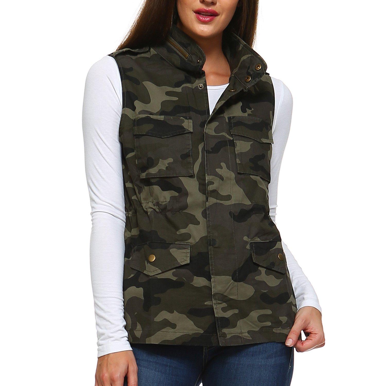 Fashionazzle LT Women's Lightweight Sleeveless Military Anorak Utility Jacket Vest (X-Large, MJV02-Camouflage)