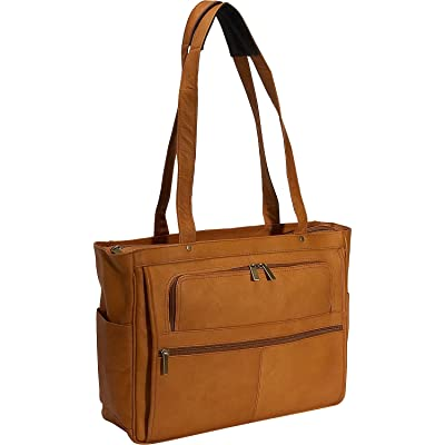 David King Leather Women's Multi Pocket Briefcase in Tan good
