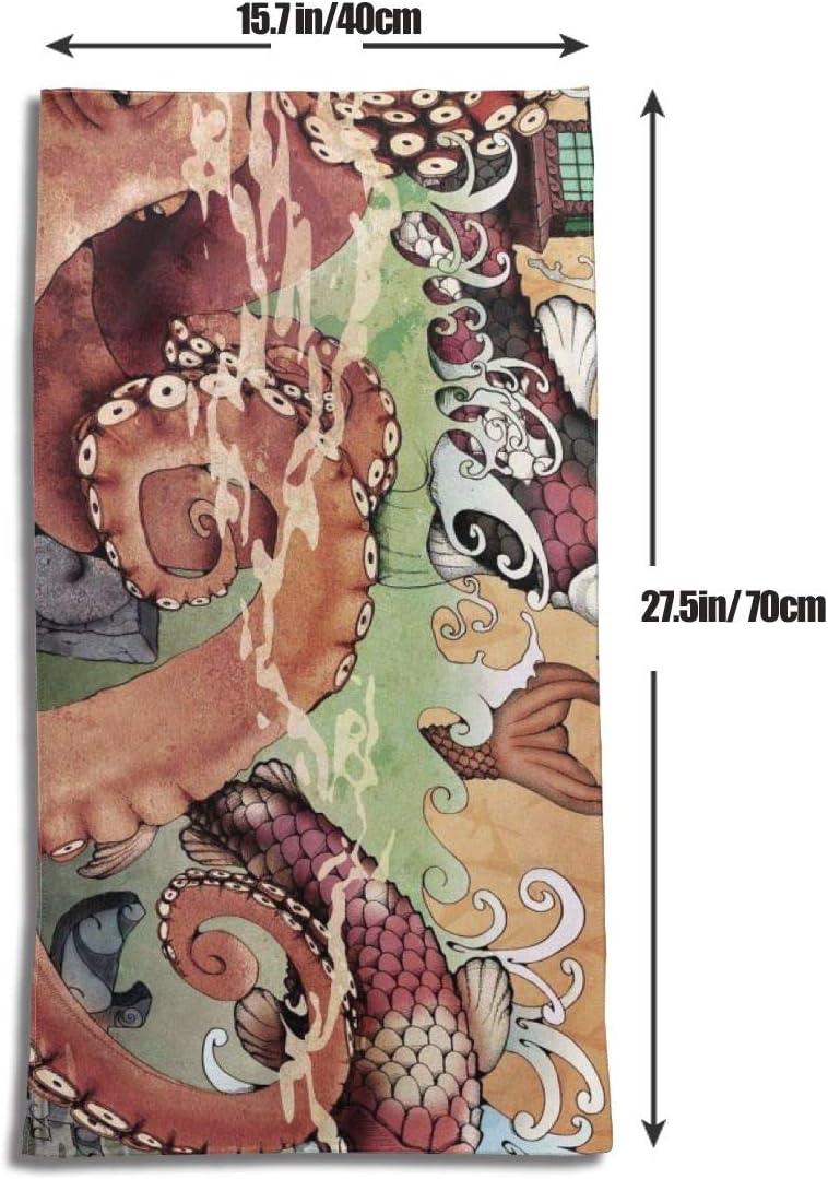 Taille Unique Maching916 Torchon de Cuisine en Coton Lavable en Machine Motif Monstre de Montagne et Monstre de la mer du Japon 45,7 x 71,1 cm Polyester Blanc