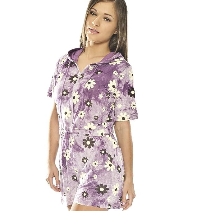 Pijamas de ropa de dormir de señoras mono - todo en uno - gris púrpura (