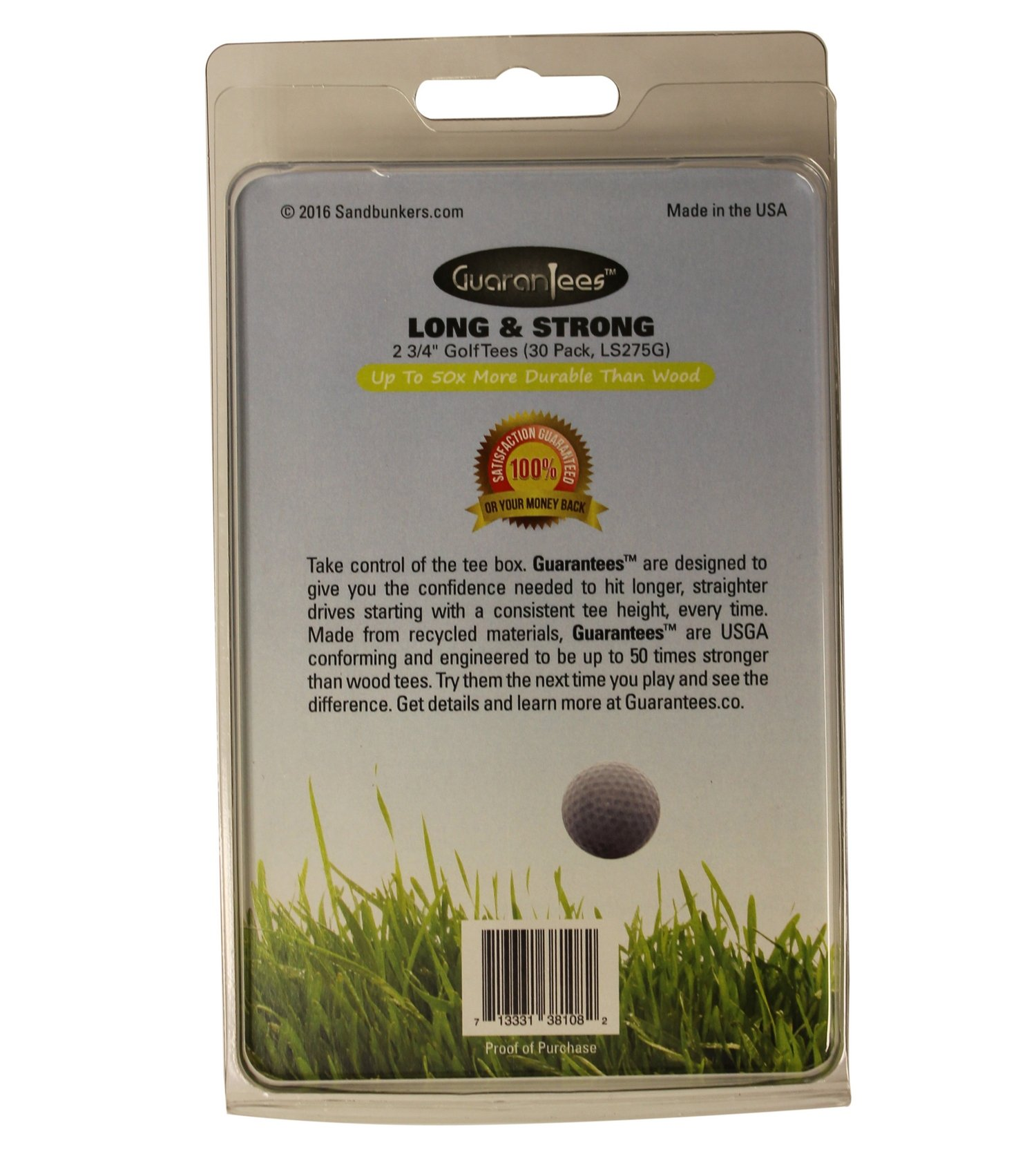 Green Golf Tees by GuaranTees, 2 3/4'' Virtually Unbreakable Plastic, 30 Pack Neon Flourescent Color, U.S. Made by Sandbunkers (Image #2)