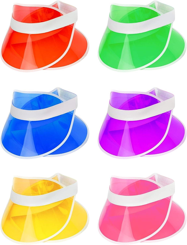 BRAMBLE! 12 Pack Viseras Neon para Mujeres y Hombres, Transparente - Sun Visor Cap, Sombrero de Plástico para Pub Golf Tenis Playa Poker Fiestas de Disfraces, Casino.