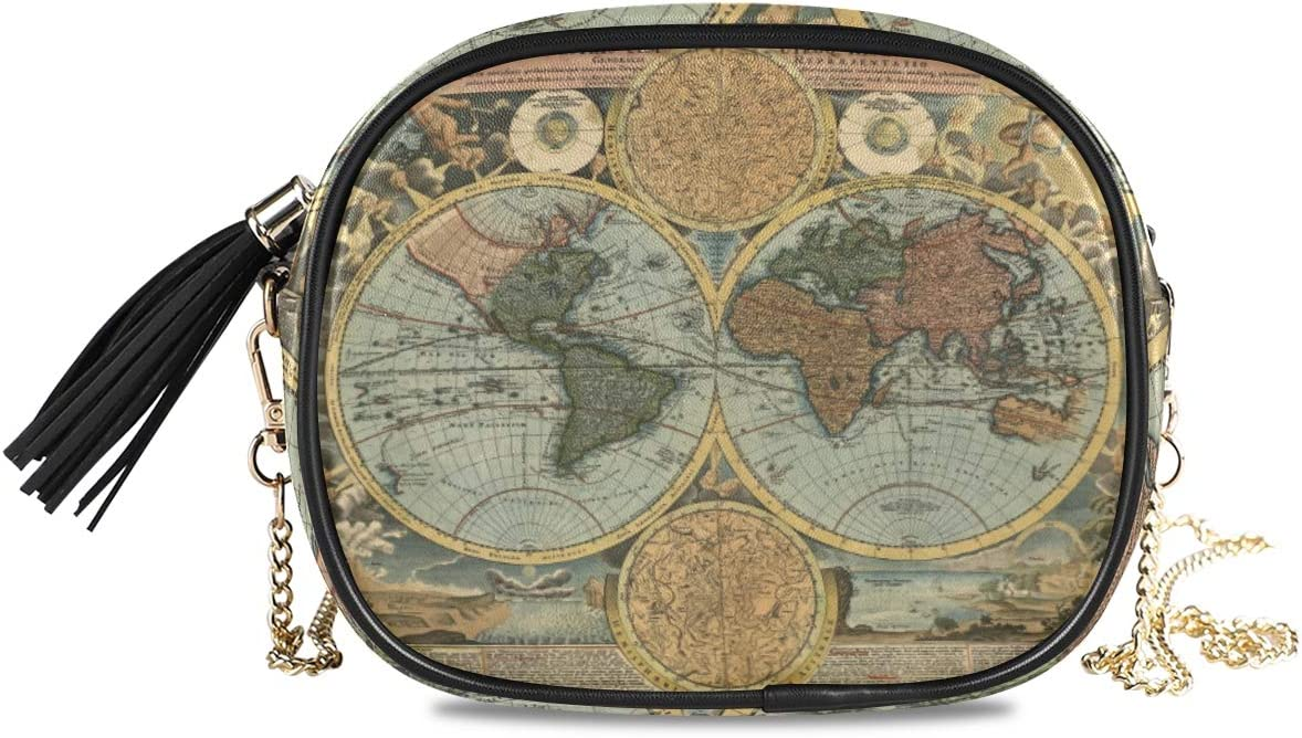 ALAZA Women's Ancient World Map Cross Body Bag Chain Shoulder Handbag Purse with Tassel
