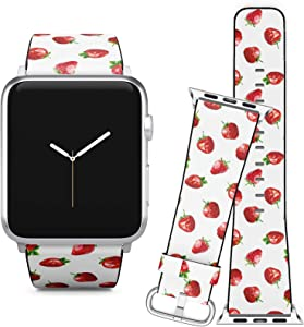 Compatible with Apple Watch (38/40 mm) Series 5, 4, 3, 2, 1 // Leather Replacement Bracelet Strap Wristband + Adapters // Low Poly Strawberries