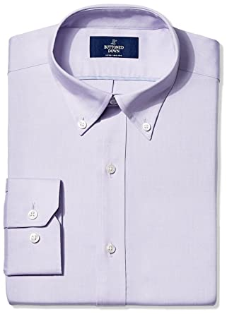 "2250b30d BUTTONED DOWN Men's Fitted Button-Collar Non-Iron Dress Shirt, Purple,  14.5"""