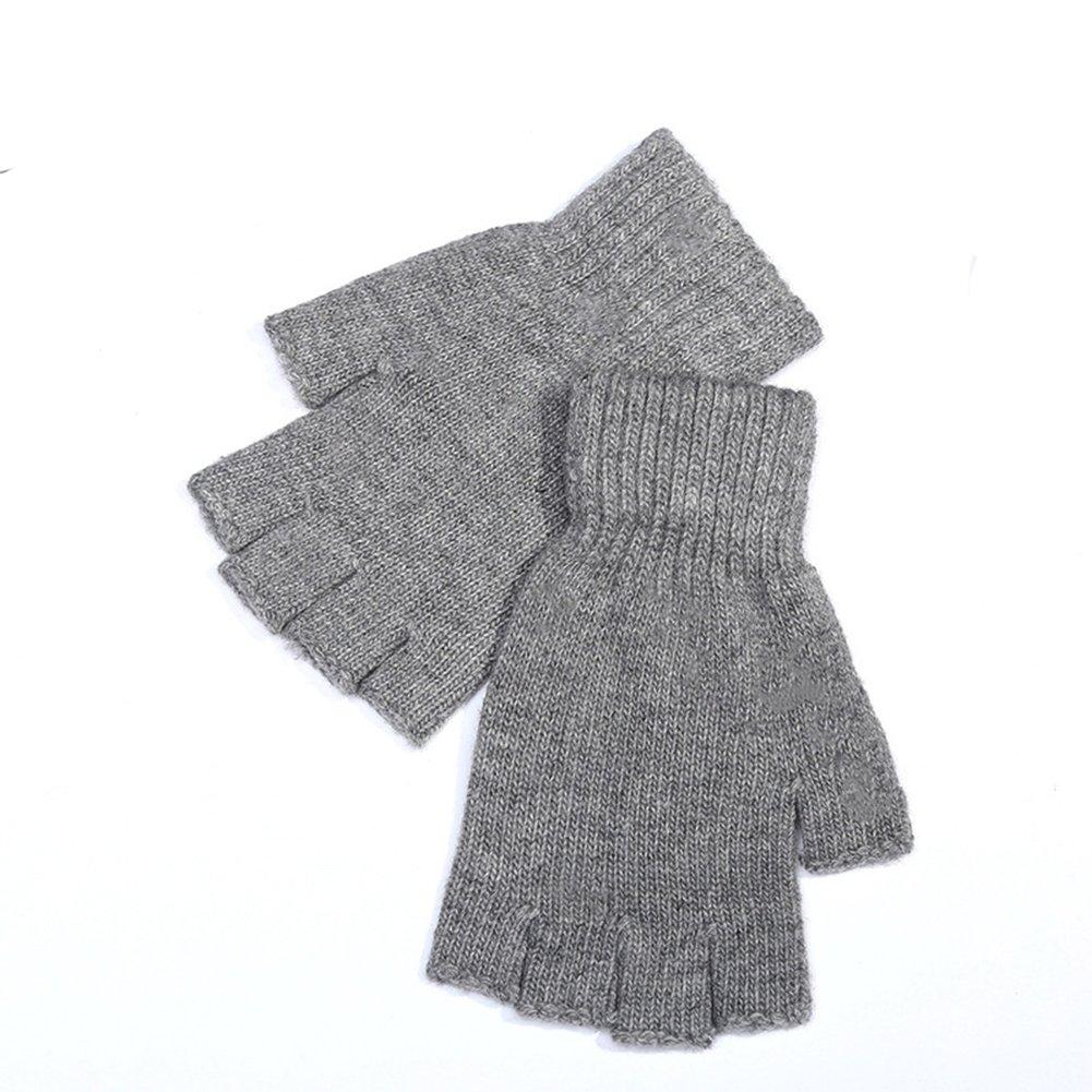 Mens Warm Knitted Wool Elastic Fingerless Half Finger MittensTextiing Gloves