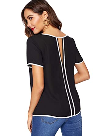 42ca435fd77ed Romwe Women's Casual Contrast Trim Cut Out Back Short Sleeve Summer Blouse Tops  Black X-