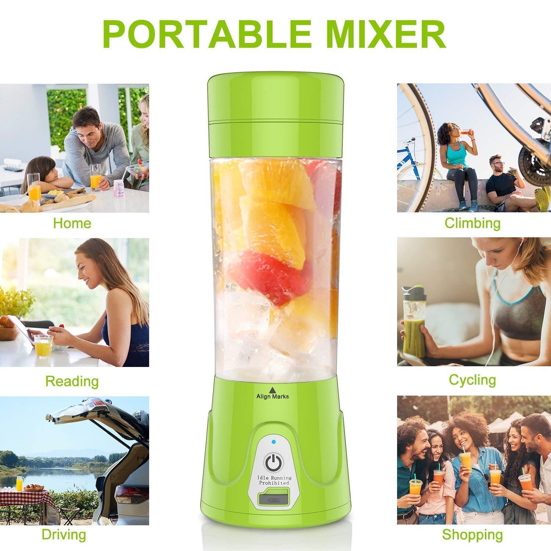 HOBFU Mini Blender Multifuncional, Botella portátil de la licuadora del Jugo, Máquina portátil del Jugo, Máquina de Mezcla de la Fruta de la Taza, ...