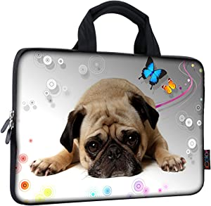 iColor 11 11.6 12 12.1 12.5 inch Laptop Carrying Bag Chromebook Case Notebook Ultrabook Tablet Tote Cover Neoprene Sleeve for Apple MacBook Air Samsung Google Acer HP DELL Lenovo Asus Pug Sleep