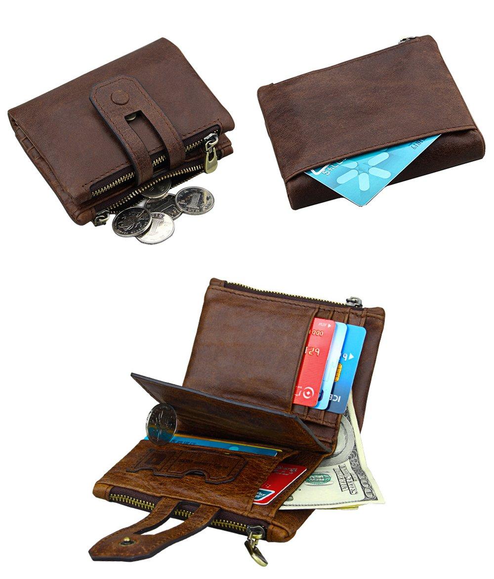 iSuperb Men's RFID Blocking Wallet Bifold Short Purse Multi Card Organizer with Double Zipper (Coffee) by iSuperb (Image #2)