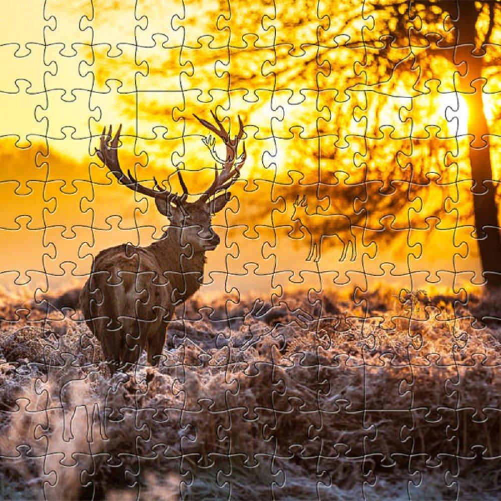 新作商品 禅アート&デザインArtisanal木製ジグソーパズル、Red Deer at at Deer Dawn , Small B07F7PK752 B07F7PK752, ランドマーク:6b3c509f --- 4x4.lt