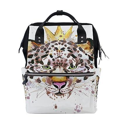 coosun Acuarela König Leopard pañal Nappy bolso cambiador Mochila con Insulated bolsillos Stroller Straps, grandes